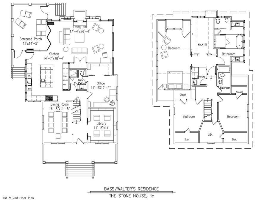 Bass walter s floor plan stone house design for Stone cottage plans and photos